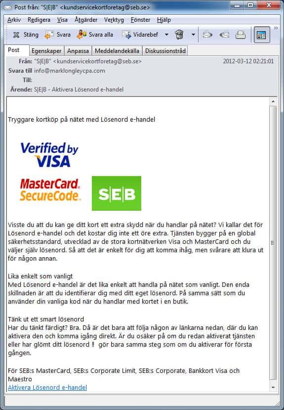 Bluffmail om SEB och bankkort