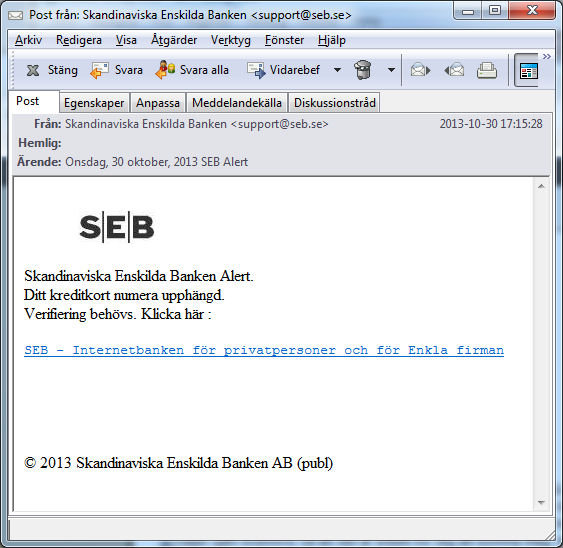 SEB mail bluff